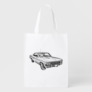 1966 Chevy Chevelle SS 396 Illustration Grocery Bag