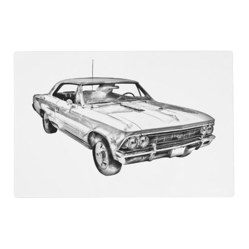 1966 chevy chevelle ss 396 illustration laminated placemat