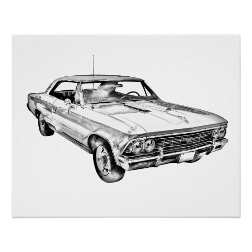 1966 chevy chevelle ss 396 illustration poster