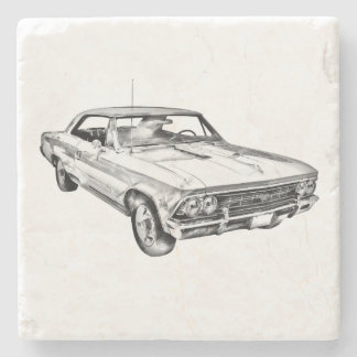 1966 Chevy Chevelle SS 396 Illustration Stone Coaster