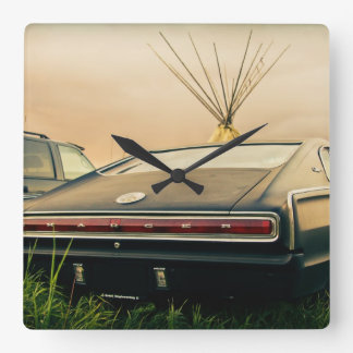 1966 Dodge Charger Square Wall Clock