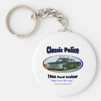 1966 Ford Police Cruiser Basic Round Button Keychain