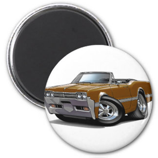 1966 Olds Cutlass Brown Convertible 2 Inch Round Magnet
