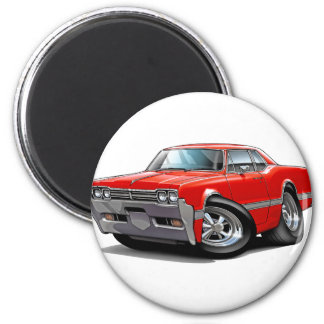 1966 Olds Cutlass Red Car 2 Inch Round Magnet