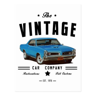 1966 Pontiac GTO Vintage Garage Postcard