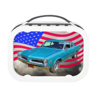 1966 Pontiac Le Mans And American Flag Lunchboxes