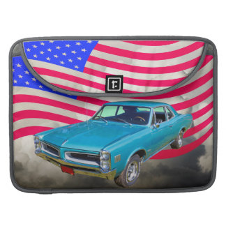 1966 Pontiac Le Mans And American Flag MacBook Pro Sleeve
