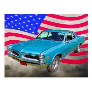 1966 Pontiac Le Mans And American Flag Postcard