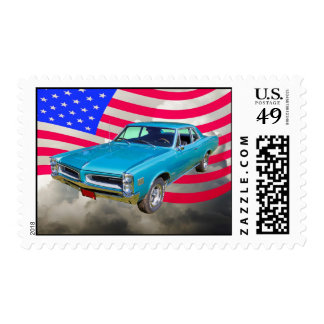 1966 Pontiac Le Mans And American Flag Stamps