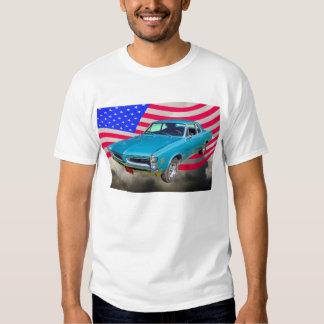 1966 Pontiac Le Mans And American Flag T Shirt