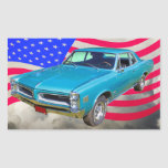 1966 Pontiac Le Mans y bandera americana Etiqueta