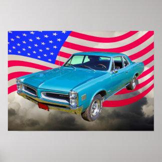 1966 Pontiac Le Mans y bandera americana Poster