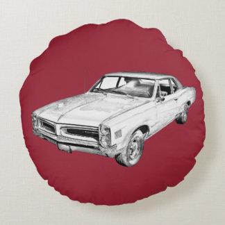 1966 Pontiac Lemans Muscle Car Illustration Round Pillow