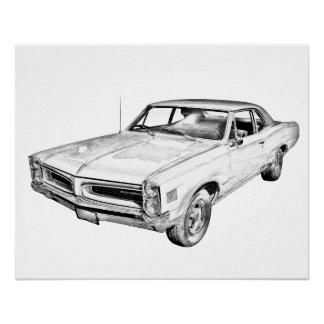 1966 Pontiac Lemans Muscle Car Illustration Poster