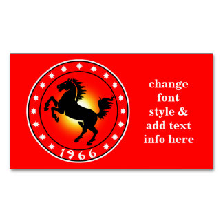 1966 Year of the Horse Magnetic Business Card