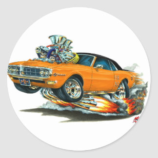 1967-68 Firebird Orange-Black Top Classic Round Sticker