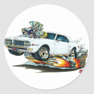 1967-68 Firebird White Car Classic Round Sticker