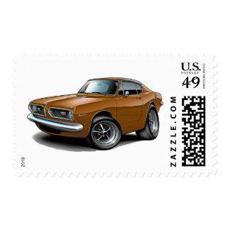 1967-69 Barracuda Brown Car Postage Stamp