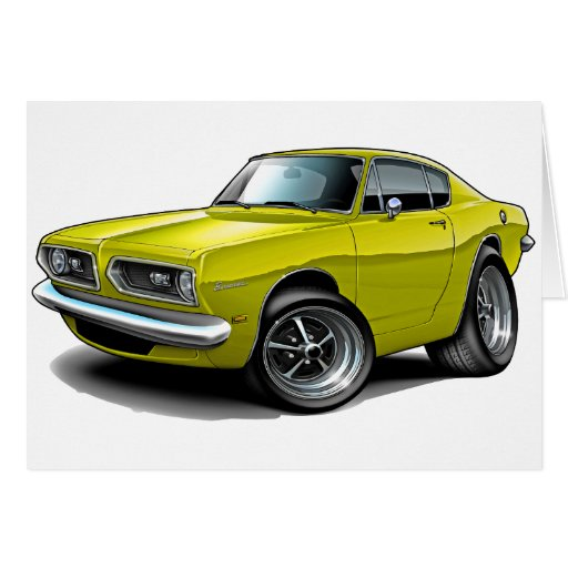 1967-69 Barracuda Yellow Car Greeting Card