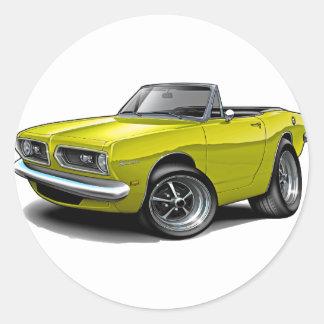 1967-69 Barracuda Yellow Convertible Round Sticker