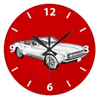 1967 Camaro muscle Car Illustration Large Clock