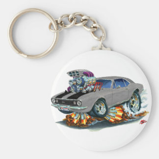 1967 Camaro SS Grey-Black Car Basic Round Button Keychain