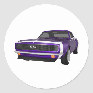 1967 Camaro SS: Purple Finish: 3D Model: Classic Round Sticker
