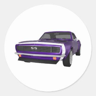 1967 Camaro SS: Purple Finish: 3D Model: Round Sticker