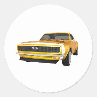 1967 Camaro SS: Yellow Finish: 3D Model: Round Sticker