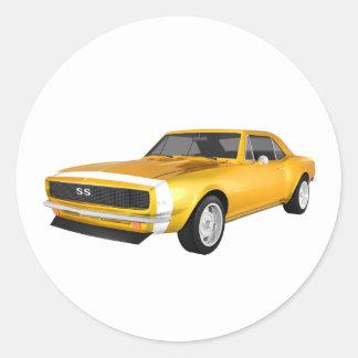 1967 Camaro SS: Yellow Finish: 3D Model: Round Stickers
