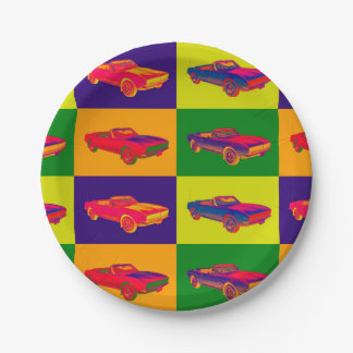 1967 Chevy Camaro RS Convertible Pop Art Paper Plate