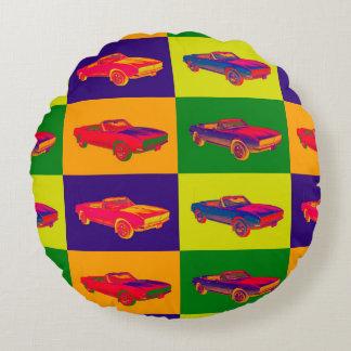 1967 Chevy Camaro RS Convertible Pop Art Round Pillow