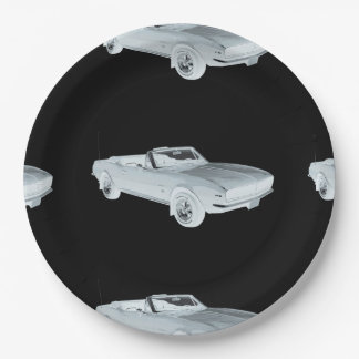 1967 Chevy Camaro RS Muscle Car Pop Art Paper Plate
