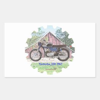 1967 Classic Motorcycle Yamaha Rectangular Sticker