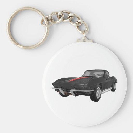 1967 Corvette Sports Car: Black Finish: Key Chains