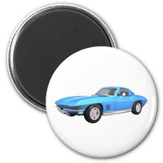 1967 Corvette Sports Car: Blue Finish: 2 Inch Round Magnet