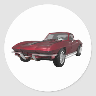 1967 Corvette: Sports Car: Candy Apple Finish: Classic Round Sticker