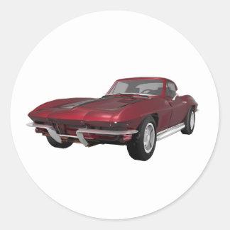 1967 Corvette: Sports Car: Candy Apple Finish: Classic Round Sticker