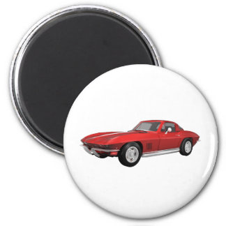1967 Corvette: Sports Car: Red Finish: 2 Inch Round Magnet