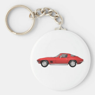 1967 Corvette: Sports Car: Red Finish: Basic Round Button Keychain