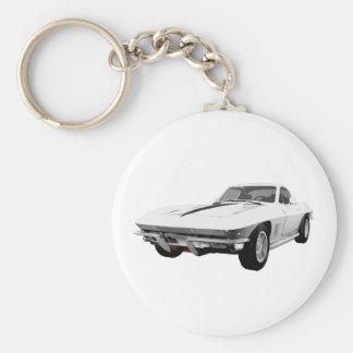 1967 Corvette Sports Car: White Finish: Basic Round Button Keychain