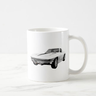 1967 Corvette Sports Car: White Finish: Coffee Mug