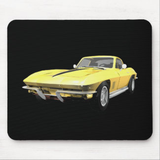 1967 Corvette Sports Car: Yellow Finish Mouse Pad
