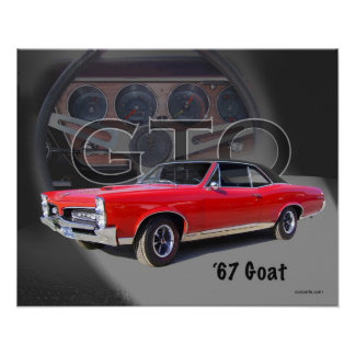 "1967 GTO ""Goat"" Muscle Car Art Poster"