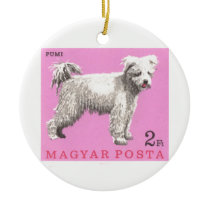 1967 Hungary Pumi Dog Postage Stamp Ceramic Ornament