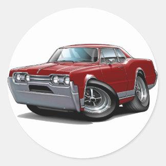1967 Olds Cutlass Maroon Car Classic Round Sticker