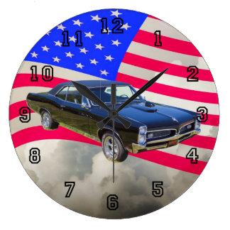 1967 Pontiac GTO and American Flag Large Clock