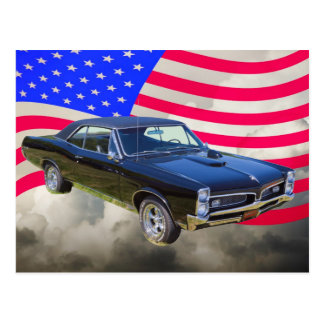 1967 Pontiac GTO and American Flag Postcard