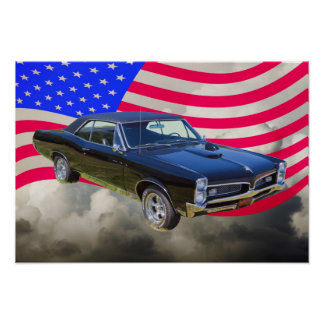 1967 Pontiac GTO and American Flag Poster