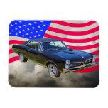 1967 Pontiac GTO and American Flag Flexible Magnets